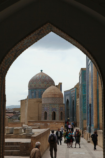 Tombs and tourists, Shakhizinda, Samarkand, Uzbekistan