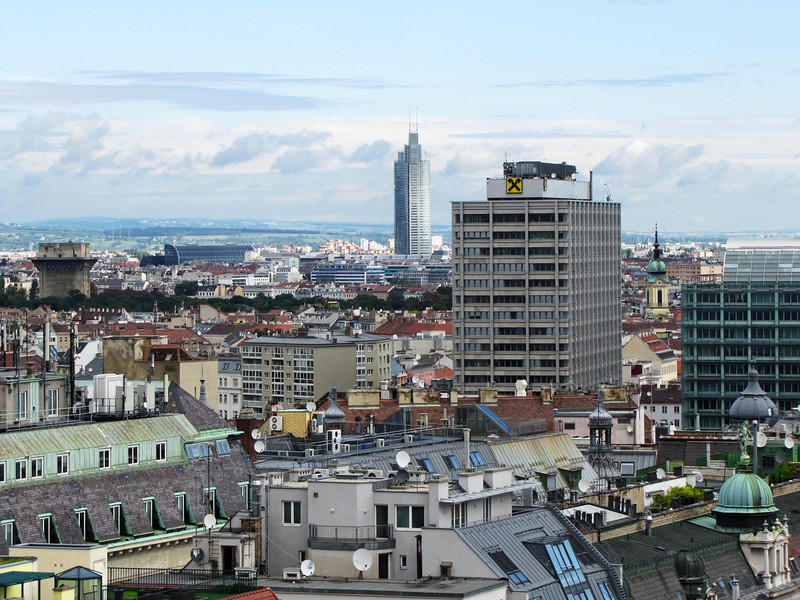 48-The Millennium Tower (center) is 663 feet high; Raiffeisen Haus is the next building to the right.