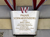 """16-Schwarzenberg Platz is the location of the Red Army Liberation Monument and the high-jet fountain. The bottom line of the placard reads: """"Vienna–A city introduces itself."""""""