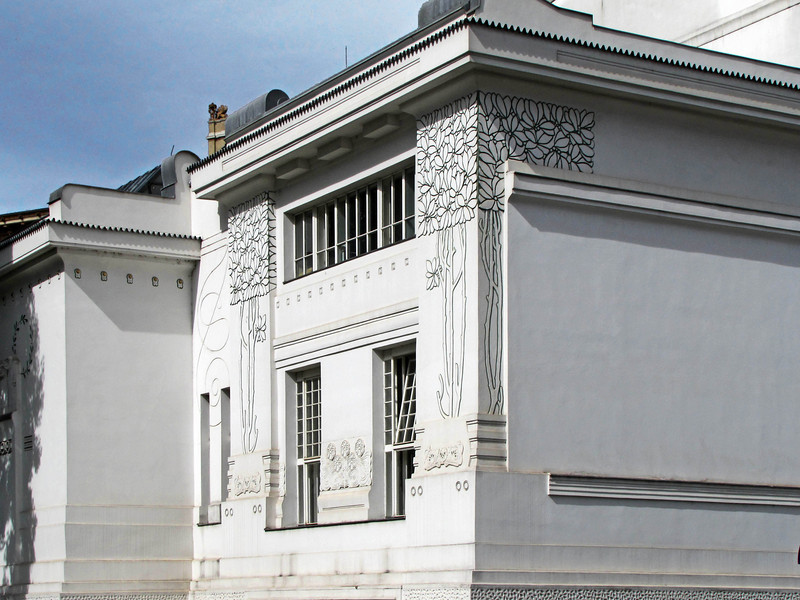 08-Corner detail. The Secession Movement was founded in 1897 by artists led by Gustav Klimt who had split with the conservative Kunstlerhaus.