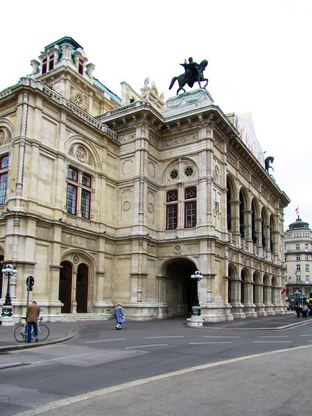 40-State Opera House, 1861–1869. Opened in 1869 with Mozart's Don Giovanni. Destroyed 1945, reopened 1955. This loggia survived the bombing and is original.