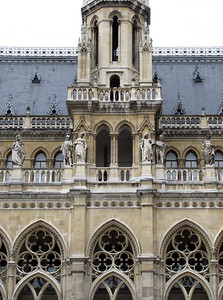 37-City Hall Gothic details. The Rathaus was built 1872-83.
