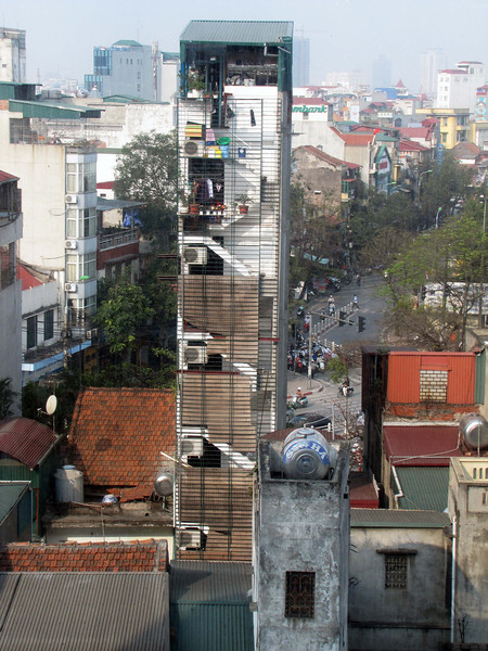 34-From the Silk Path Hotel, we can see one of Hanoi's many tall and narrow buildings, 7+ stories