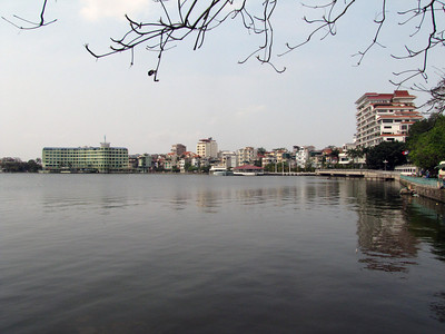 96-Buildings on Yen Phu Street line the north shore of West Lake.