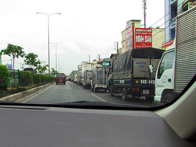 88-What's more, the trucks obey lane restrictions!  Not a common sight.