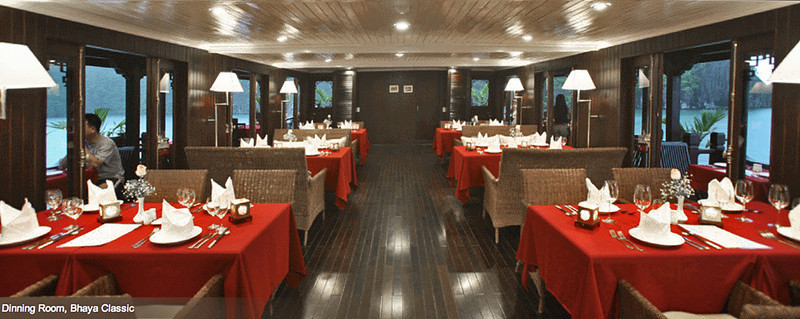 11-Dining room, photo from the Bhaya Cruises website. We only had white tablecloths.