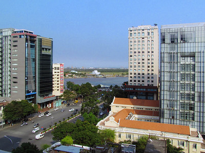 55-East edge of downtown HCMC from my room, looking SE on Nguyen Hue Blvd