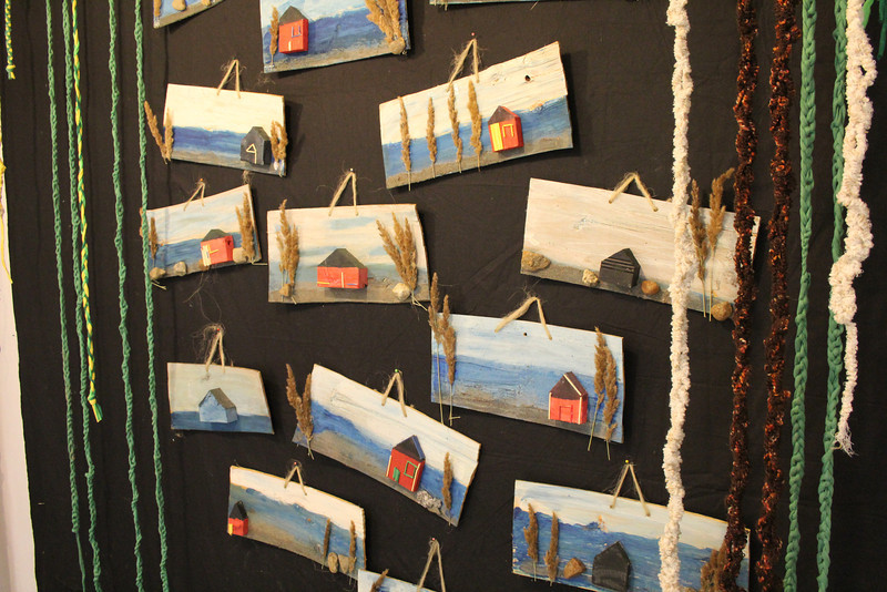 I loved these crafts the students made of the style of homes found out on the islands.