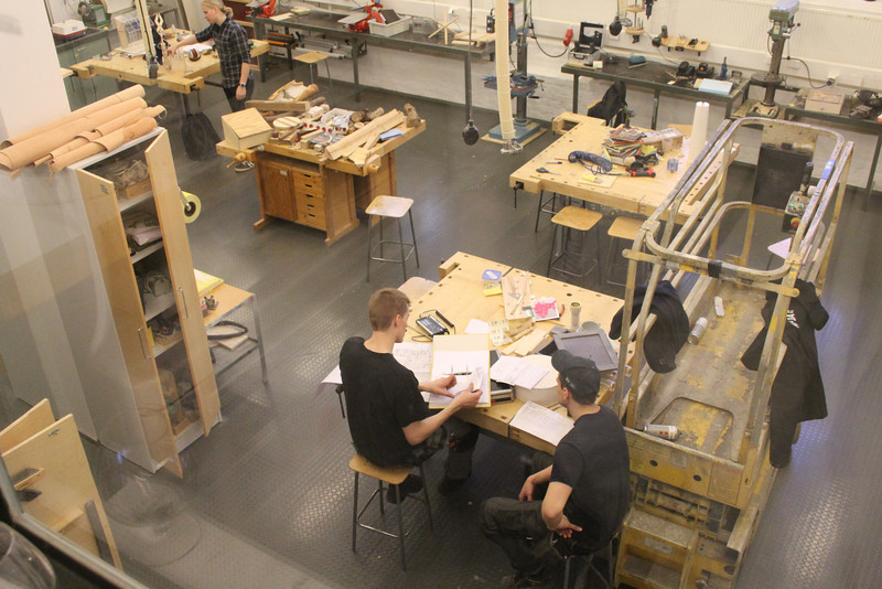 Craft, or sloyd, class at the university.  All teacher education students must take sloyd classes, which include woodworking, textiles, and technology.
