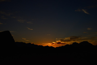 More of the Wadi Rum Sunset. If you look closely you can see some of the cloud shadows extending upwards from the sunset.