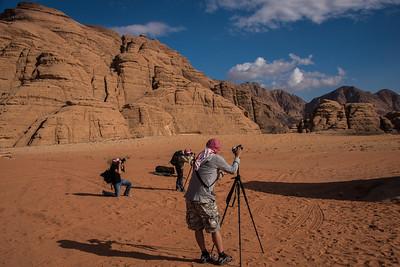 Everyone is photographing Mushroom Rock in the Wadi Rum desert.