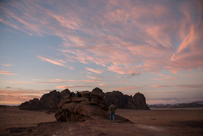 The team photographing the beautiful Wadi Rum Desert sunset.
