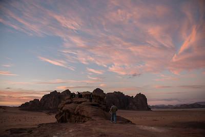 The team photographing the beautiful Wadi Rum Desert sunset.