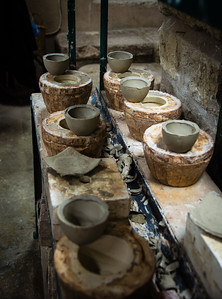Clay pots and molds used by the Iraq Al-Amir Women's cooperative. This group makes handmade arts and crafts to support their families. This is the beginning of the pot-making process.