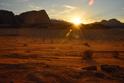 The next picture in this gallery is a shot of the Wadi Rum Desert that I said is one of my favorites, and that we had stopped to capture the sunset. This was the sunset we stopped to capture. What is fun for me is that I actually planned to make this shot come out this way, capturing the sunburst right as it set, and still getting detail and focus in the foreground. I learned so much on this trip!