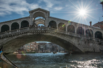 The Rialto Bridge (Ponte di Rialto), one of the larger bridges that crosses the Grand Canal in Venice.