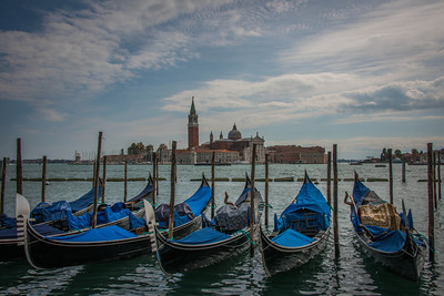 "The iconic ""gondolas in Venice"" shot. I think every photographer has this shot ;-) with the also iconic Church of San Giorgio Maggiore in the background."