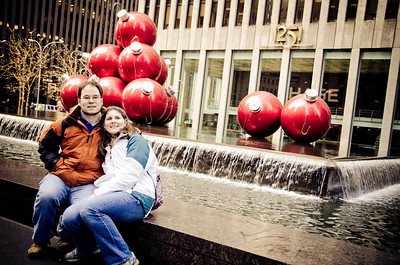 JJ and Andrea outside the Time Life Building
