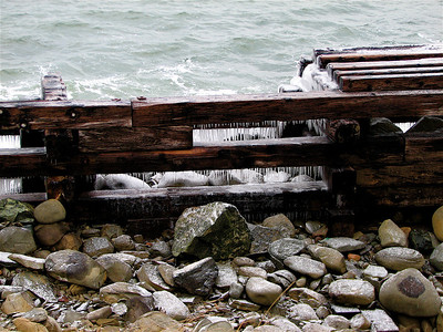 Low Point Lighthouse - busted up breakwater covered with icicles