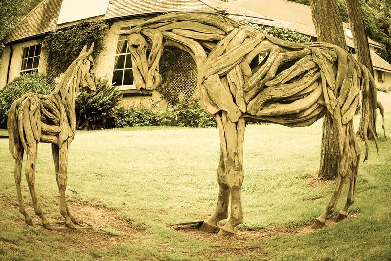 Irish National Stud & Japanese Gardens; Horses made of Wood