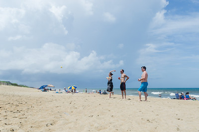 Playing Bocce Ball on the beach