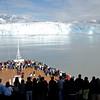 Passengers on the decks below the bridge watching the Hubbard Glacier.
