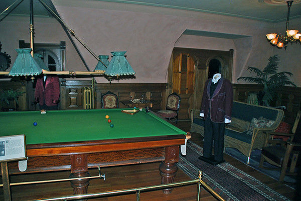 The Billiard Room at Craigdarroch Castle.  This billiard table is not original but is the same size and manufactured by the same company as the original.