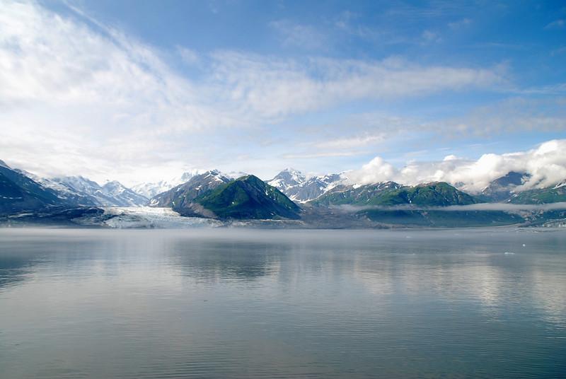 As we sail out of Disenchantment Bay we get a good view of Turner Glacier (left) and Haenke Glacier (darker area left of center).