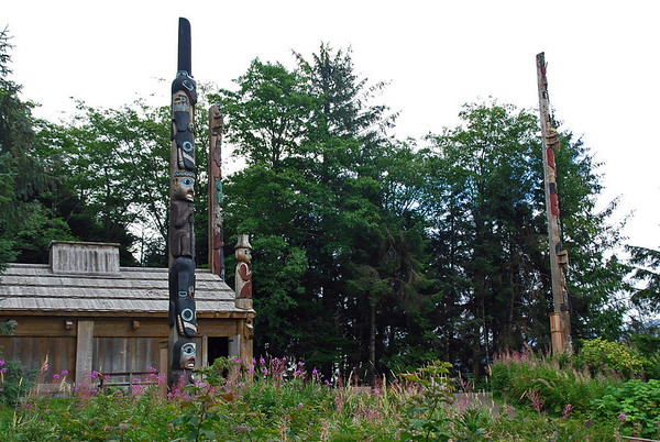 The clan house at Totem Bight State Historical Park.