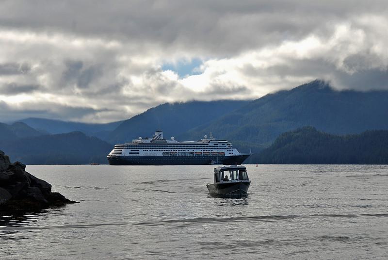The Zaandam anchored off the shore of Sitka, Alaska.