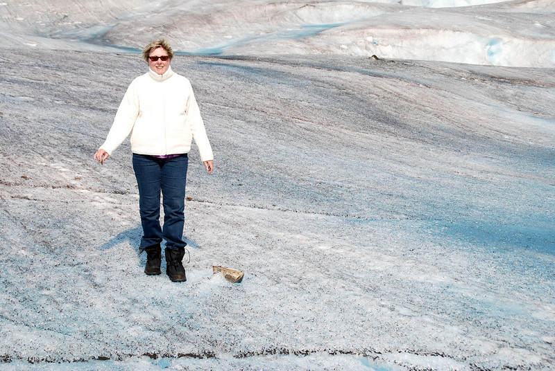 Jean discovers a large valley wall rock on the Mendenhall Glacier.