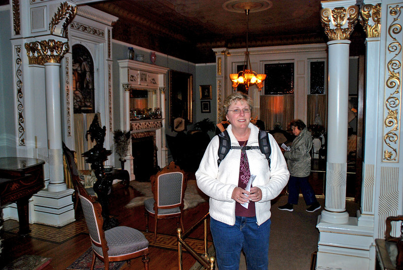 Jean in the Drawing Room at Craigdarroch Castle.  Steinway baby grand piano visible on the left.