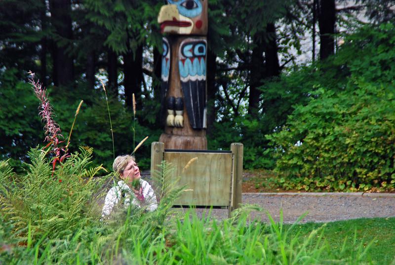 Jean at Totem Bight State Historical Park.