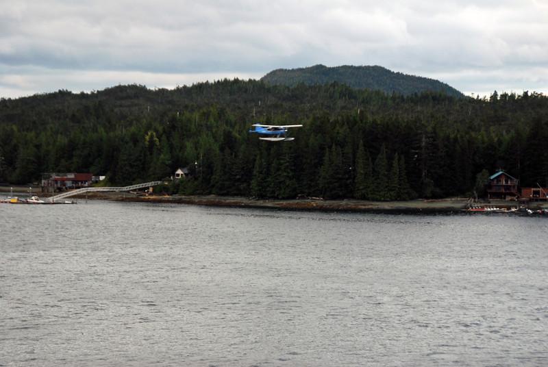 A seaplane lands at Ketchican, Alaska.