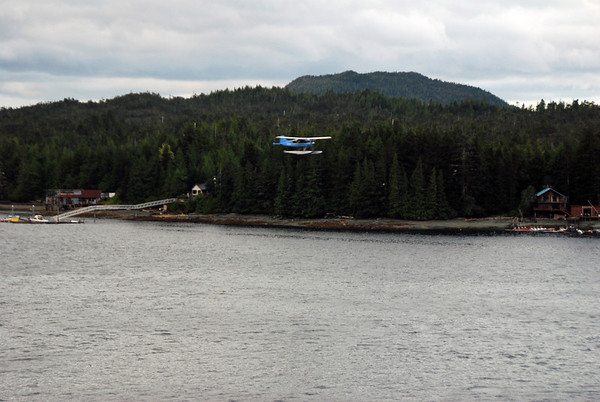 A seaplane lands at Ketchican, Alaska.