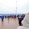 Lots of passengers on the bow of the ship as we start to approach the Hubbard Glacier.