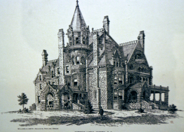 An old drawing of Cragdarroch Castle which was built between 1887-90 by Robert Dunsmuir, a Scottish immigrant who made his fortune from Vancouver Island coal.