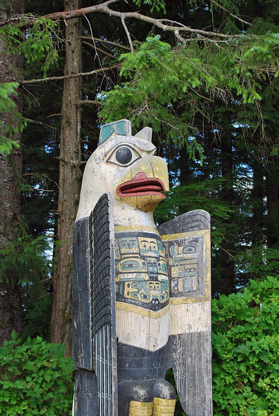 The Eagle Grave Marker Totem at the entrance to Totem Bight State Park.