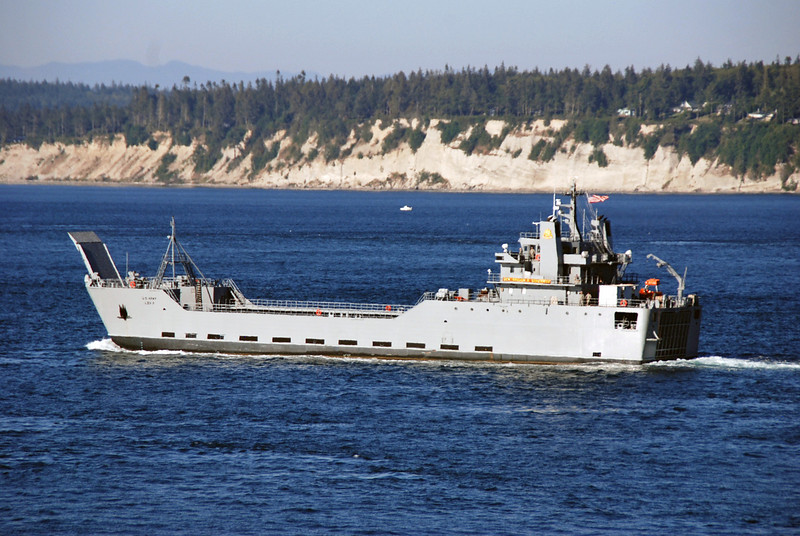 We pass a  US Army ship.  It is the GEN Brehon B. Sommervell Logistics Support Vessel which can carry up to 2,000 tons from ship to shore.