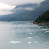 The amount of floating glacial ice increases as we approach.