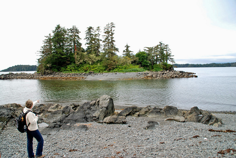 Jean spots an eagle on a small island across from the Halibut Point State Recreation Site.