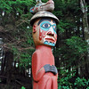 The Man Wearing Bear Hat Totem at Totem Bight State Historical Park.  The hat was worn at a potlatch or other important occasions.