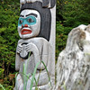 Closeup of the totem pole at Halibut State Park.
