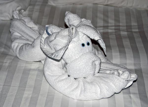 Towel creature: doggie.