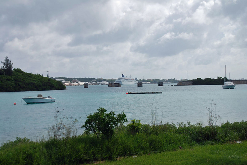 A view across St. George Harbor towards the Majesty.