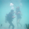 The scuba diver tells Jean to get closer to the group as the 50-foot airline is at its extreme.