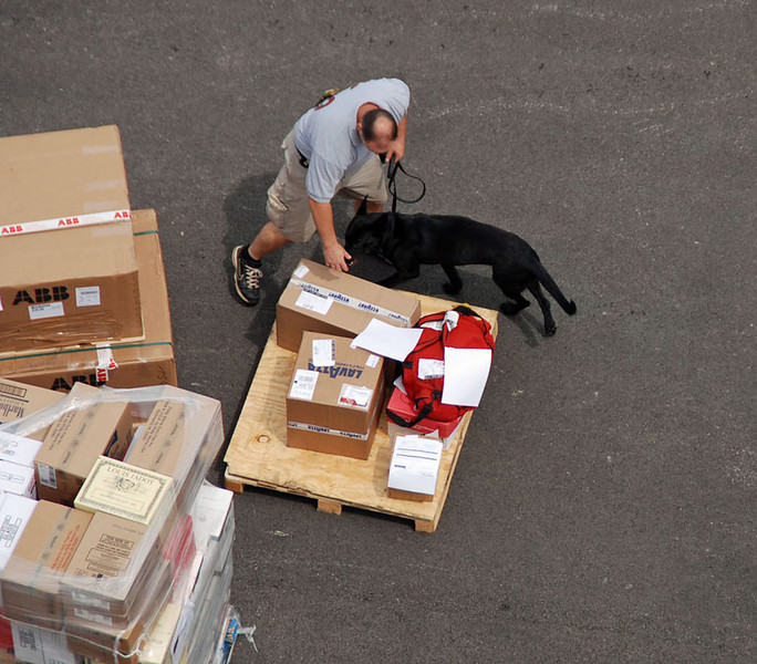 Packages on the dock being inspected by security.