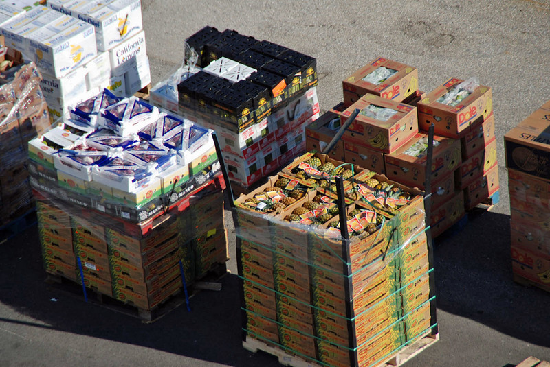 Produce ready to be loaded on the Majesty for the next cruise.