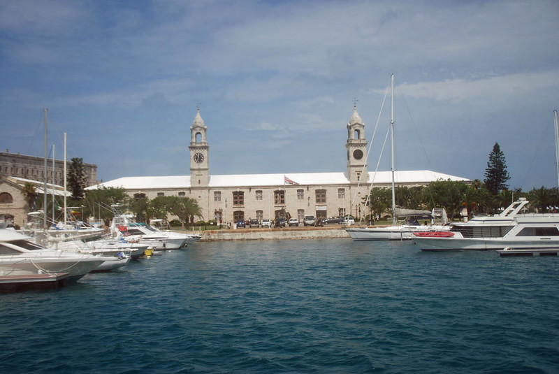 Dockyard.  The tower on the left is a clocktower.  On the right is a tower indicate the next high tide.