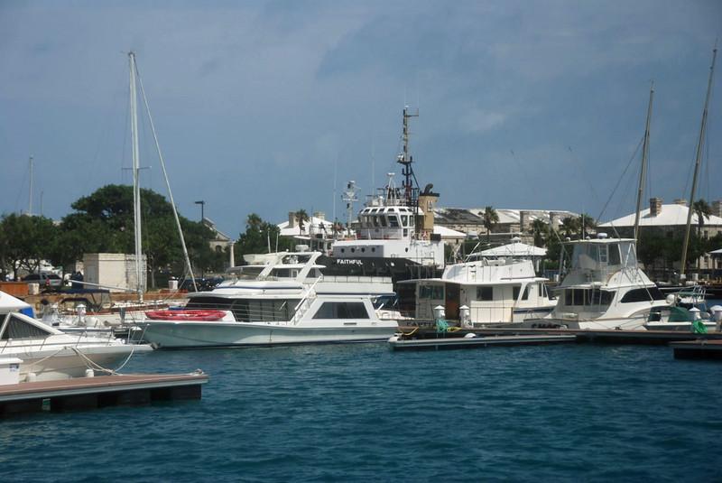 Some of the boats docked at the Dockyard Marina.